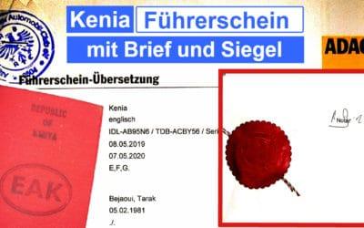 Kenia Führerschein mit Brief und Siegel