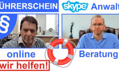 """Führerschein Anwälte gehen """"online-meeting"""""""